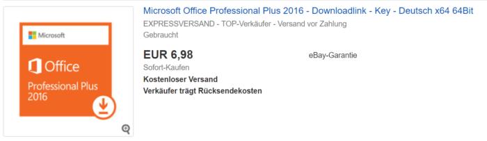Der Screenshot zeigt einen günstigen Product-Key. Ist er aber auch legal? Foto: Screenshot