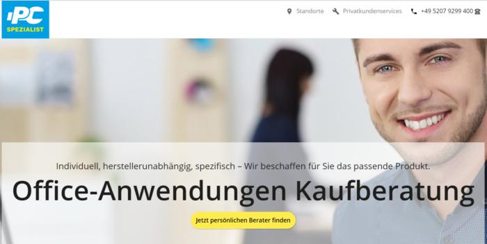 Screenshot der PC-SPEZIALIST-Homepage zeigt die Landingpage der Office-Kaufberatung. Foto: Screenshot