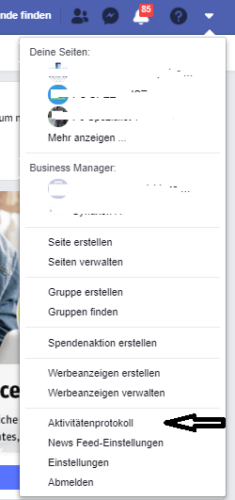 Screenshot eines ausgeklappten Menüs der Facebook-Seite, wo gespeicherte Facebook-Daten gesehen werden können. Foto: Screenshot