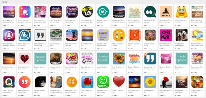 Der Screenshot zeigt eine Auswahl an Sprüche-Apps, die sich als Profilsprüche anbieten. Foto: Screenshot Google Play Store.