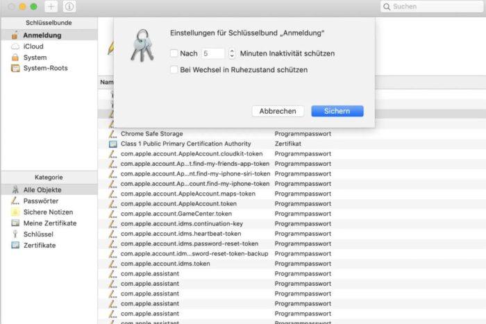 Passwortverwaltung Mac-Schlüsselbund: Manuelle Sperrzeit einrichten (Bild: Screenshot)