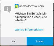 Screenshot einer Pop-Up-Nachricht. Foto Screenshot