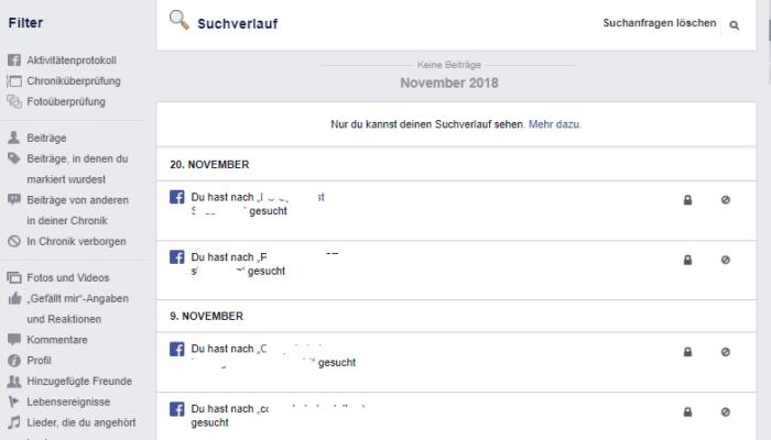 Screenshot des Suchverlaufs bei Facebook. Foto: Screenshot