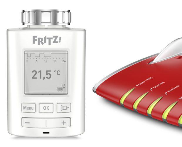 Das Bild zeigt den Temperaturregler FRITZ!DECT 301 zusammen mit einer FRITZ!Box. Foto: AVM