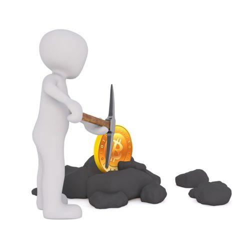 Die Grafik zeigt ein Menschen-Symbol mit Hacke in der Hand und Bitcoin im Stein vergraben. Ob das Hacking-Tool genutzt wird? Foto: Pixabay