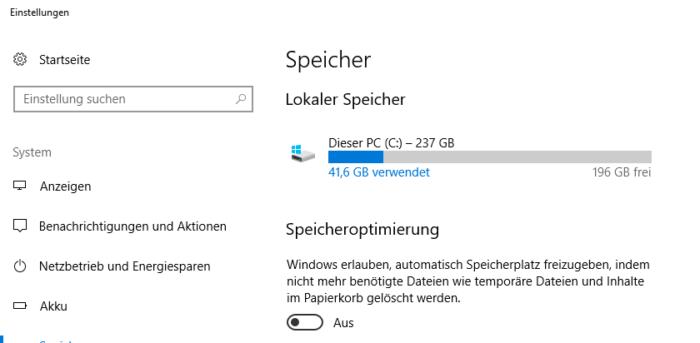 Der Screenshot zeigt die aktuellen Einstellungen beim Thema Speicher. Mit dem Windows-April-Update sollen sie sich ändern. Foto: Screenshot