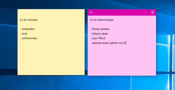 Mit dem Windows-April-Update verbessert Windows die hier gezeigten Sticky Notes. Foto: Screenshot.