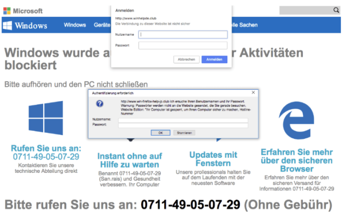 Das Bild ist ein Screenshot der aktuellen Windows-Warnung. Foto: Screenshot
