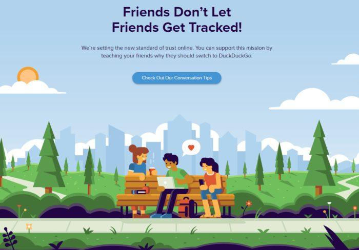 Zu sehen ist ein Screenshot von einer Seite von DuckDuckGo. Sie zeigt ein comicartiges Bild von drei Freunden auf einer Holzbank in einer Landschaft, die auf einen Laptop schauen. Sie scheinen die Suchmaschine DuckDuckGo zu lieben. Bild: Screenshot