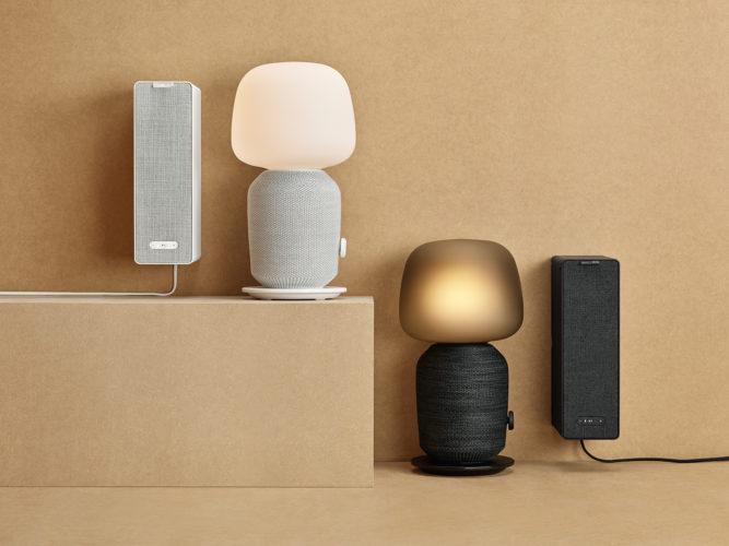 Zu sehen sind die neuen Produkte der Kollektion IKEA SYMFONISK - Lautsprecher, die gleichzeitig als Tischlampe oder Regal dienen. Bild: obs/IKEA Deutschland GmbH & Co. KG/Inter IKEA Systems B.V. 2019