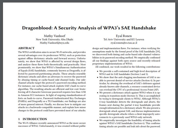 Zu sehen ist ein Auszug aus dem Dragonblood-Paper, in dem die Sicherheitslücke des WPA3-Standards aufgedeckt wird. Bild: Screenshot