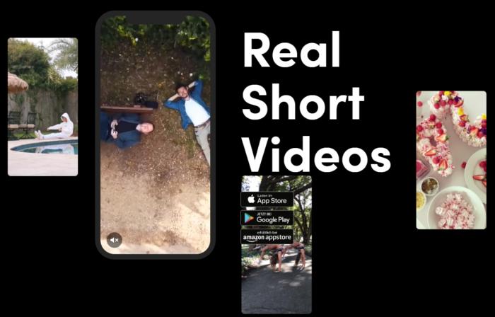 """Zu sehen ist ein Screenshot der Internetseite TikTok mit dem Slogan """"Real Short Videos"""" in weißer Schrift auf schwarzem Hintergrund. Zudem sind verschiedene Mobiltelefone zu sehen, auf denen Videos abgespielt werden. Foto: Screenshot"""
