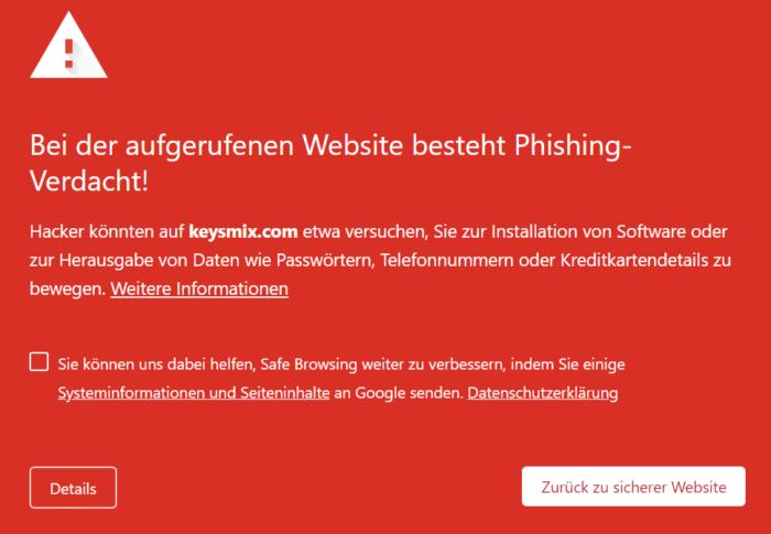 Screenshot der Link-Zielseite des Phishing-Versuchs, hier allerdings in Form einer Warnung vor Datenklau. Foto Screenshot