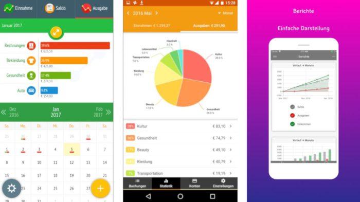 Zu sehen sind Screenshots aus drei Haushaltsbuch-Apps. Sie helfen aus der Schuldenfalle. Bild: Screenshots / Montage: PC-SPEZIALIST