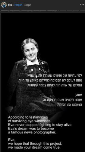 Zu sehen ist ein Screenshot aus der Eva-Story, mit der die reale Eva Heymann vorgestellt wird. Vor dem Schwarz-Weiß-Foto des Mädchens ist in weißer Schrift ein Text eingeblendet. Bild: Screenshot / www.instagram.com/eva.stories/