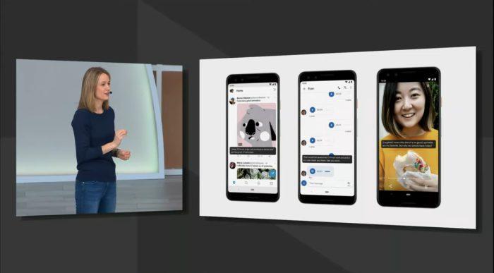 Zu sehen ist links in einer Einblendung Stephanie Cuthbertson, rechts sind drei Smartphone-Bildschirme zu sehen, in denen die neue Untertitel-Funktion bei Android Q in verschiedenen Medien umgesetzt wird. Bild: Screenshot/Google I/O '19 Livestream bei Google