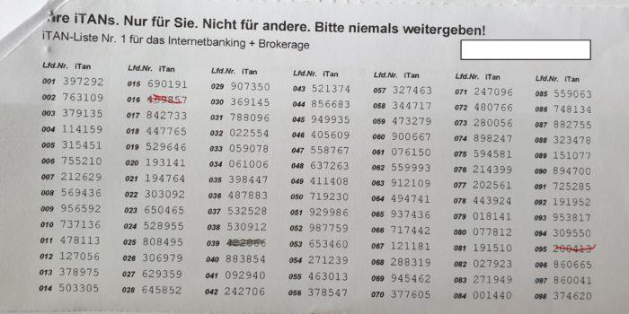 Zu sehen ist eine klassische TAN-Liste auf Papier mit der Auflistung der Transaktionsnummern. Bild: PC-SPEZIALIST