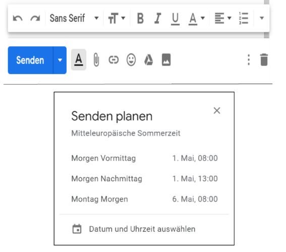 Die Screenshots zeigen, wie ihr planen könnt, ob ihr eine E-Mail zeitversetzt senden könnt.