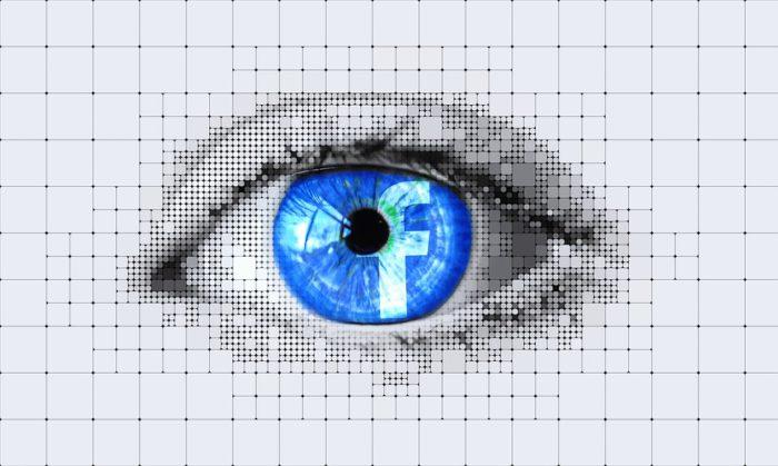 Das Bild zeigt ein Auge, in der Iris befindet sich das Facebook-Icon. Es soll die künstliche Intelligenz symbolisieren. Bild. Pixabay