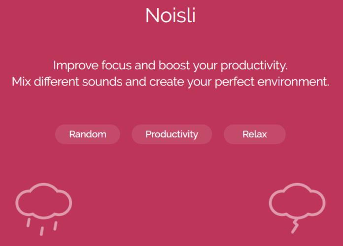 Screenshot des Soundanbieters Noisli. Er eignet sich zum Arbeiten mit Musik am Arbeitsplatz. Bild: Screenshot