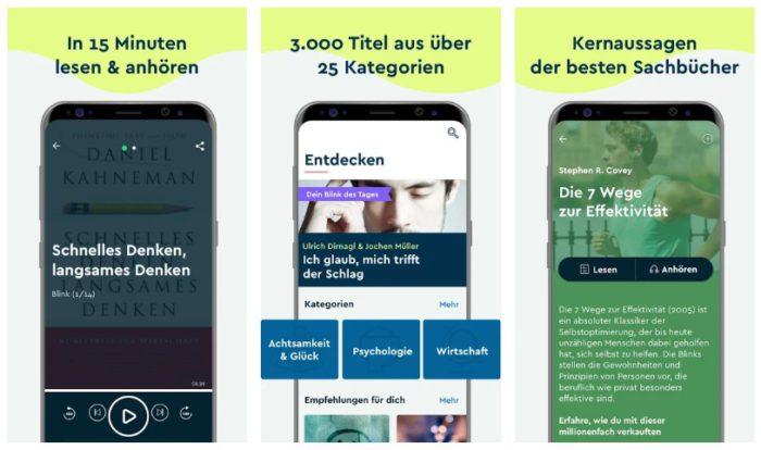 Zu sehen ist ein Screenshot der Blinkist-App aus dem Google PlayStore. Drei Smartphone-Bildschirme zeigen die Lese- und Audioansicht zweier Sachbücher sowie einen Ausschnitt der Kategorien. Bild: Screenshot