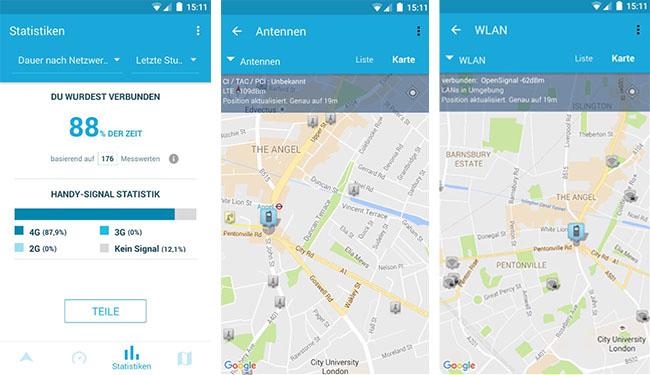 Zu sehen sind Screenshots aus der App OpenSignal. Sie zeigen, wie viel Zeit das 4G-Netz genutzt wurde, und wo sich Antennen und WLAN-Router auf der Karte befinden. Bild: Screenshots OpenSignal