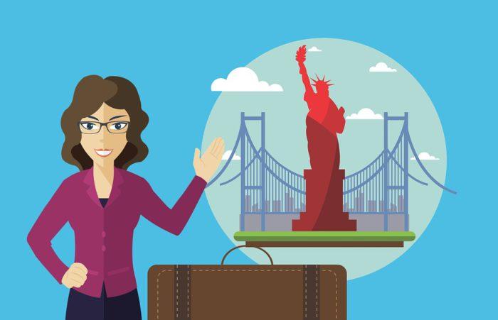 Zu sehen ist eine Grafik, die eine Frau mit Koffer zeigt. In einer Blase sind Wahrzeichen Amerikas zu seen – die Freiheitsstatue und die Golden Gate Bridge. Wer in den USa leben möchte, muss einen Visumsantrag ausfüllen. Bild: www.pixabay.com / mohamed_hassan