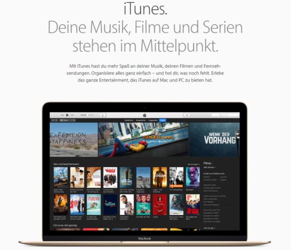 Der Screenshot zeigt die Startseite von Apple iTunes. Foto: Screenshot