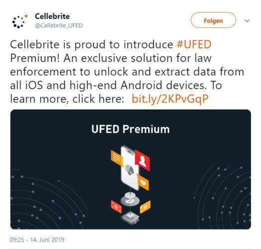 Der Screenshot zeigt den Twitter-Post von Cellebrite zum Smartphone hacken. Foto: Screenshot / twitter.com/Cellebrite_UFED