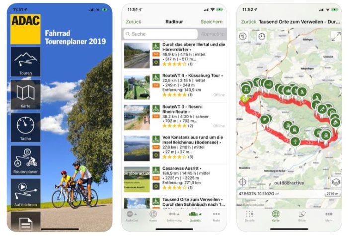 Zu sehen sind drei verschiedenen Screenshots des ADAD Fahrrad-Tourenplaners 2019. Screenshot 1: die Startansicht; Screenshot 2: Auflistung verschiedener Radtouren; Screensho 3: Kartenansicht einer ausgewählten Tour mit eingezeichneten Wegpunkten. Bild: Screenshot