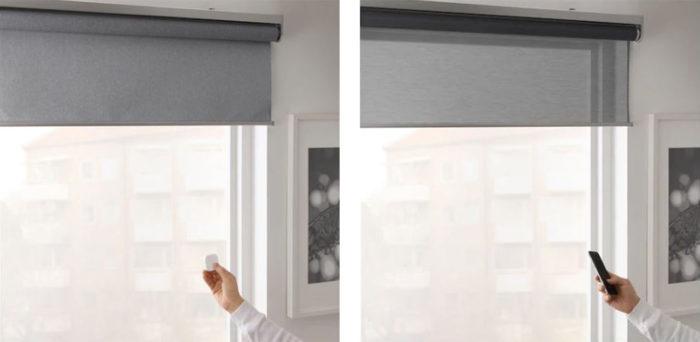 Zu sehen sind zwei Fenster mit Rollos - links ein Rolle der Reihe FYRTUR, rechts der Reihe KADRILJ. Bild: IKEA