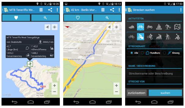 Zu sehen sind Screenshots von drei Smartphone-Ansichten der GPSies-App. Screenshot 1 zeigt eine Radrundtour für Mountainbike auf Teneriffa; Screenshot 2 zeigt den Routenverlauf des Berliner Mauerradwegs; Screenshot 3 zeigt die Streckensuche. Bild: Screenshot