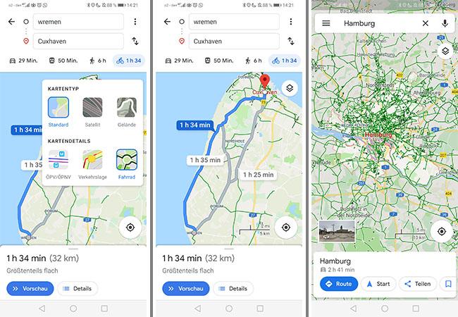 Zu sehen ist der Fahrradroutenplaner bei Google Maps aus. Der Screenshot linkt zeigt die Auswahlmöglichkeit für Radwege; der Screenshot in der Mitte zeigt eine Route von Wremen nach Cuxhaven; der Screenshot rechts zeigt in Grün das Radwegenetz rund um Hamburg. Bild: Screenshots