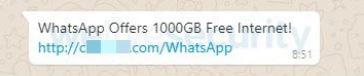 Zu sehen ist ein Ausschnitt eines WhatsApp-Chats, indem 1.000 GB kostenloses Datenvolumen versprochen werden. Es handelt sich um eine WhatsApp-Fake-Nachricht. Bild: www.welivesecurity.com