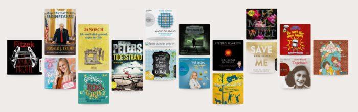 Zu sehen ist ein Screenhot der Webseite von Nextory mit den Titelbildern verschiedener Hörbücher und E-Books. Die App funktioniert ähnlich wie BookBeat. Bild: Screenshot