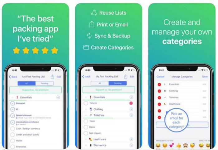 Zu sehen sind drei Screenshots aus der Koffer-Packen-App Pack. Bild: Screenshot