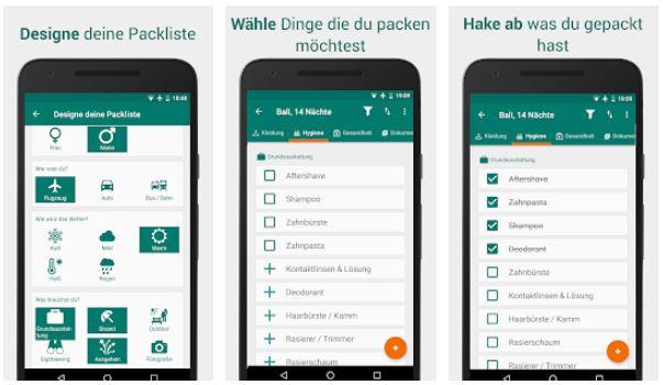Zu sehen sind drei Screenshots aus der Koffer-Packen-App PackKing. Bild: Screenshot