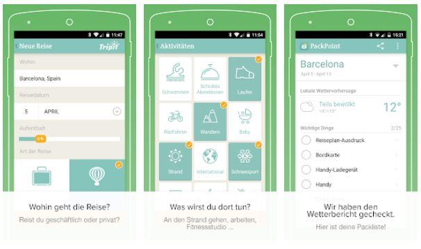 Zu sehen sind drei Screenshots aus der Koffer-Packen-App PackPoint. Bild: Screenshot