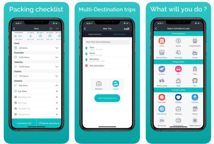 Zu sehen sind drei Screenshots aus der Koffer-Packen-App Packr. Bild: Screenshot