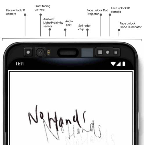 Das neue Pixel 4 mit zahlreichen Sensoren , unter anderem für die Gestensteuerung. Foto: Google