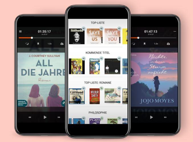Zu sehen ist eine Screenshot der Webseite von Storytel. Darin sind drei Handys abgebildet, auf denen verschiedene Seiten der App aufgerufen sind. Die App funktioniert ähnlich wie BookBeat. Bild: Screenshot