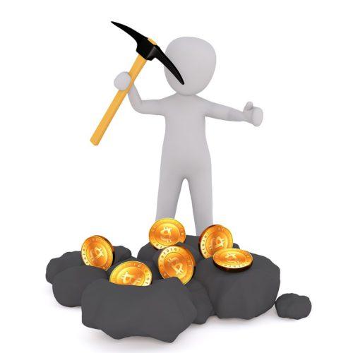 Eine Figur schürft Kryptowährung und symbolisiert damit die Facebook-Währung Libra. Foto. Pixabay