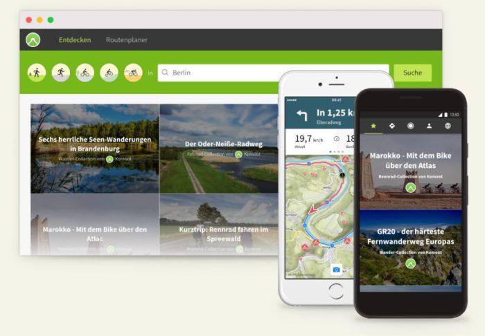 Zu sehen sind Desktop-Ansicht und Smartphone-Ansichten der Komoot-App. Die Fahrrad-Navi-App schlägt verschiedene Routen im In- und Ausland vor und navigiert per Sprachbefehle. Bild: Screenshot