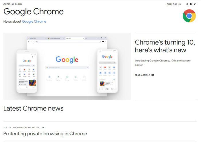 Zu sehen ist ein Screenshot von der Startseite des Google Blogs. Der neueste Eintrag informiert über Chrome 76 und die Umgehung der Paywall. Bild: Screenshot