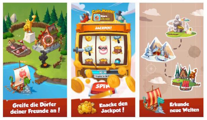 Zu sehen sind drei Screenshots aus der Coin-Master-App. Sie zeigen Grafiken eines Dorfes am See, einem Spielautomaten und einer Landkarte. Bild: Screenshot