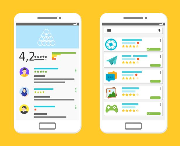Gezeichnete Screenshots von Apps aus dem Google Play Store. Foto: Pixabay