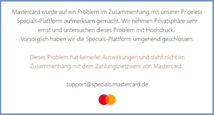 Screenshot der abgeschalteten Webseite der Priceless Specials nach dem Mastercard Datenleck.