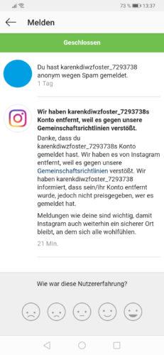 Zu sehen ist ein Screenshot aus Instagram. In einer Nachricht bedankt sich die Plattform für das Melden des Instagram-Spams. Bild: PC-SPEZIALIST