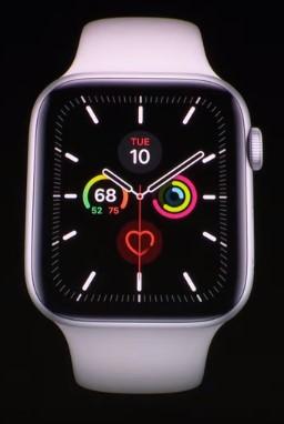 Der Screenshot zeigt die neue Apple Watch Series 5, die auf der Keynote 2019 vorgestellt wurde.