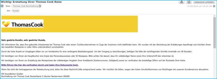 Screenshot der gefährlichen Thomas-Cook-E-Mail.